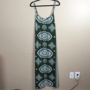 Asos curve bandana olive white maxi dress sz 16